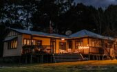 large home in the woods with landscape lighting