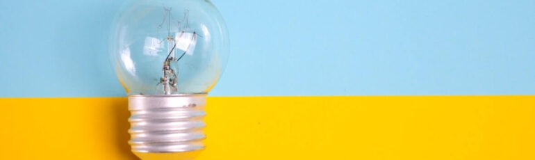lightbulb off in a blue and yellow background